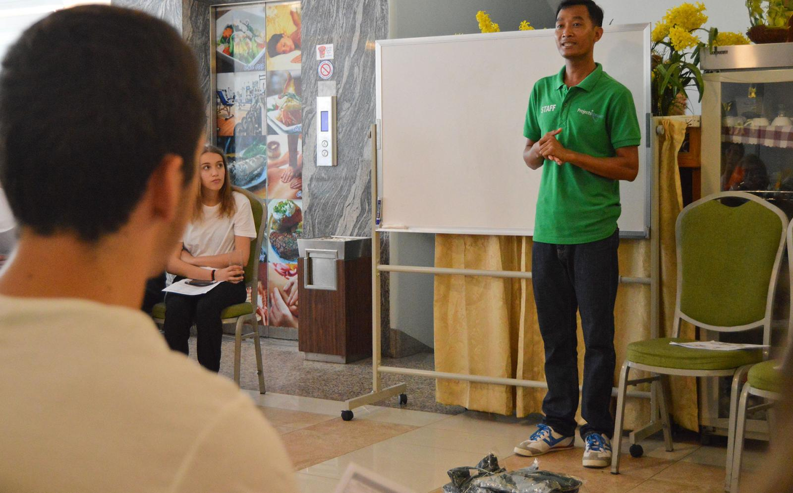 Projects Abroad Volunteers being introduced to local culture and language after their arrival in Cambodia.